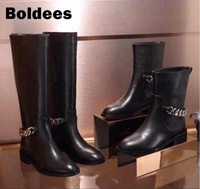 Black genuine leather square heeled round toe shoes for woman chains Knee high boots