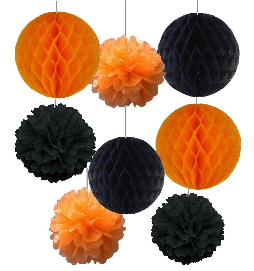 online shop 8pcs 20cm25cm halloween kit decoration tissue paper pom poms tissue paper honeycomb balls fluffy flowers festival decoration aliexpress - Halloween Pom Poms