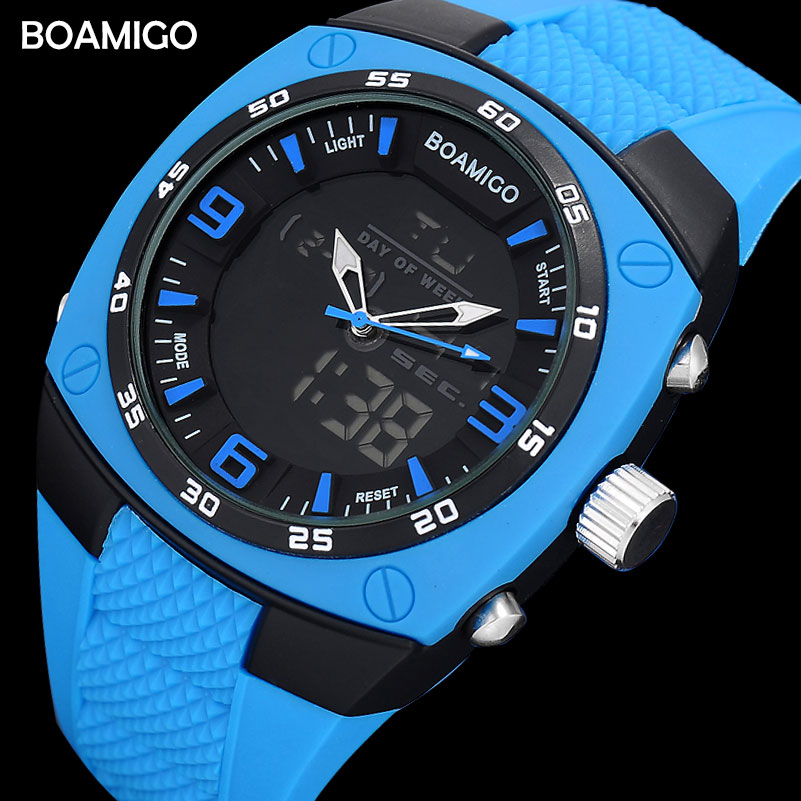 Men Sports Watches Military Digital Watches LED Quartz Gift Clock BOAMIGO Brand Rubber Strap Blue Wristwatches Reloj Hombre tefia мусс экстра сильной фиксации beauty shape style 300мл