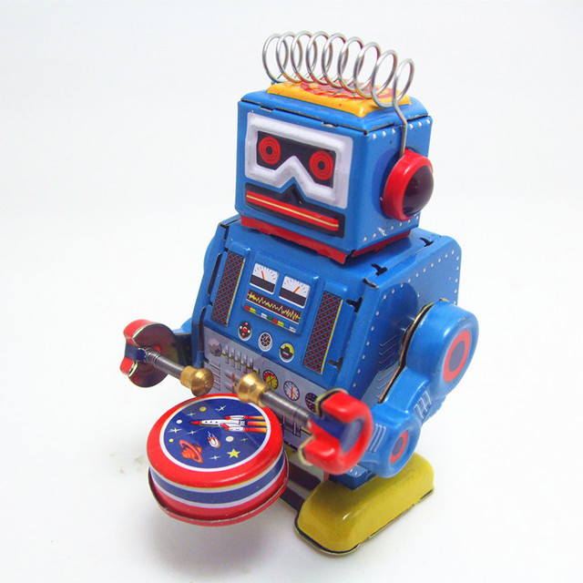 Classic collection Retro Clockwork Wind up Metal Walking Tin band drummer robot toy Mechanical toys kids christmas birthday gift