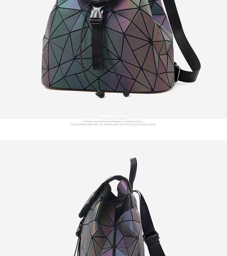 HTB1WeJzVY2pK1RjSZFsq6yNlXXat Women Backpack Luminous Geometric Plaid Sequin Female Backpacks For Teenage Girls Bagpack Drawstring Bag Holographic Backpack