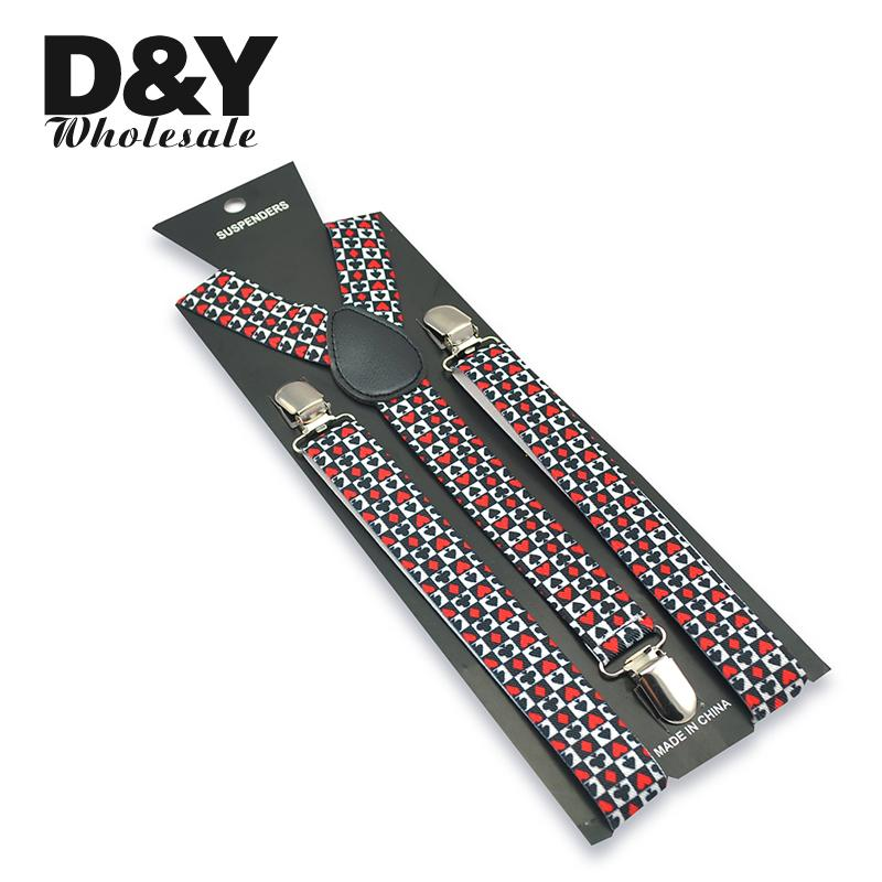 Fashion 2.5cm Wide Men Women Unisex Poker Playing Cards Design Clip-on Elastic Braces Suspender Y-back Suspenders And Bowtie Set