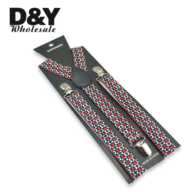 Fashion 2.5cm Wide Men Women Unisex Poker Playing Cards Design Clip-on Elastic Braces Suspender Y-back Suspenders And Bowtie Set