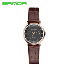 SANDA Luxury Famous Brands Womens Watches Ultra Thin Fashion Ladies Quartz Wrist Watch Women Vogue Leather Relojes Mujer P188G