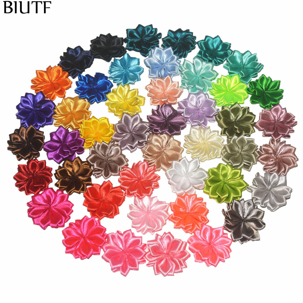 Wholesale 1000pcs lot 3 5cm Multilayer 16 petal Mini Satin Flower Kids Hair Accessories All Color