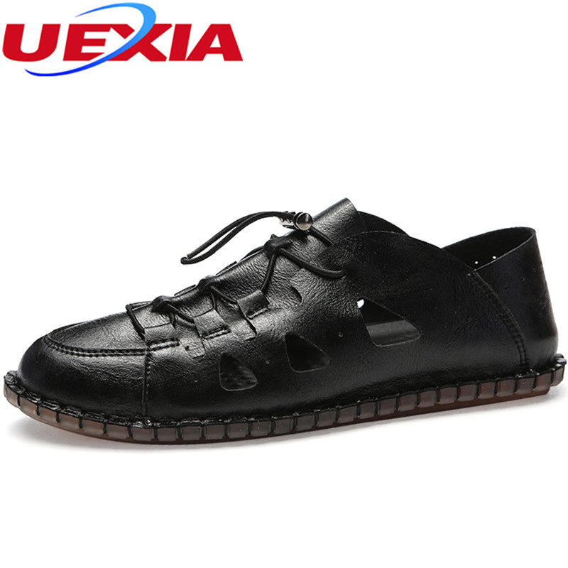 UEXIA 2018 Men Shoes Sandalias Hombre Lace-up Beach Summer Men Sandals Casual Shoes Outdoor Sandals Mens Sandals Summer Leather