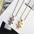 Fashion Dull polish Gold Plated Robot Pendant Long Chain Necklace Sweater Chain Women Jewelry Top gift