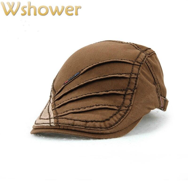Jamont café negro gris primavera otoño Viseras boina sombreros de algodón para  hombres y mujeres Sol sombrero planas rayas plana boinas en Boinas de ... 5374de3c01a