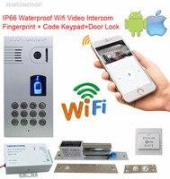 Fingerprint Code Wireless Video Doorbell IP66 Waterproof Wifi Intercom Video Door Phone Wifi With Electronic Drop