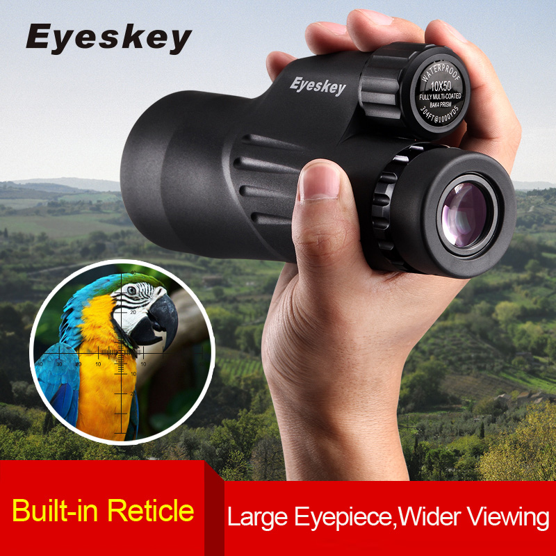 Eyeskey 10x50 Teleskop monocular Reticle Rangefinder terbina dalam Reticle Camping Nitrogen Waterproof Scope dengan Bak4 Prism