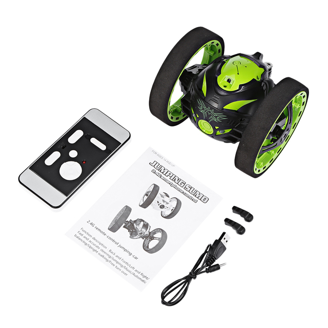 Hot sales Mini Cars Bounce Car RC Car with Flexible Wheels Rotation LED Light Remote Control Robot Car Toys Gifts for Boys Kids