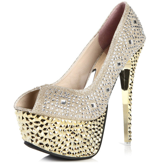 Fashion Gold wedding shoes stiletto heel 14cm high heels golden bridal shoes  rhinestone peep toe bride pumps silver shoes D7988 09fe5119ecab