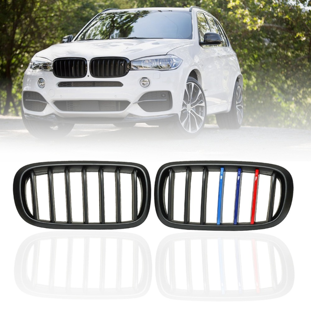 Pair Matte Black M-Color Front Left Right Side Kidney Grille Grill For BMW X5 F15 X6 F16 X5M F85 X6M F86 2014 2015 2016 2017 x5 x6 m performance sport design m color front grill dual slat kidney custom auto grille fit for bmw 2015 2016 f15 f16 suv