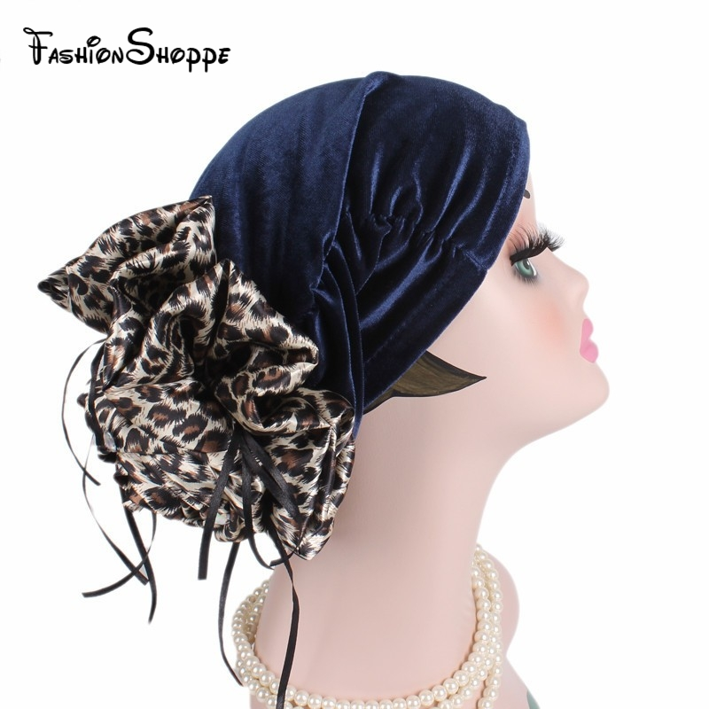 Aspiring New Luxury Leopard Flower Velvet Turban Cap Women Marriage Party Hat Church Cap Lady Headwear Turbante #ys319 Fixing Prices According To Quality Of Products