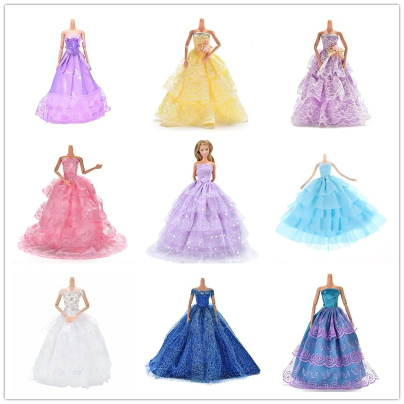 Handmade Elegant Lace Multi Layers Wedding Dress Doll Shoes Clothes Clothing For Barbie Doll Luxury Floral Dolls Accessories
