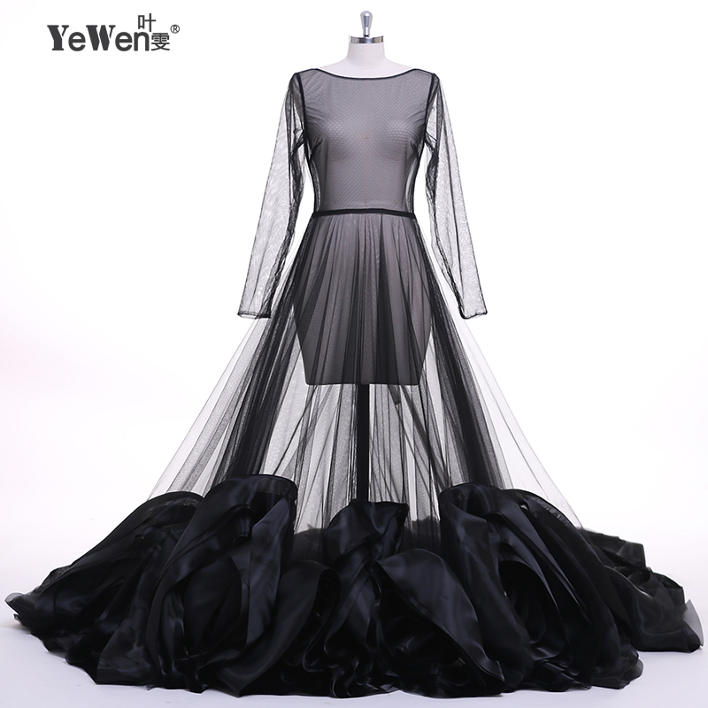 Formal dress Long Sleeve See Through Black Evening Dresses Custom ...