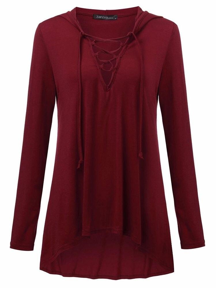 Love Lace Up Tie Casual fashion 2019 Women Low Cut V Neck Bandage Tops new Classics Comfort Elegance Shirt Blouse xxl