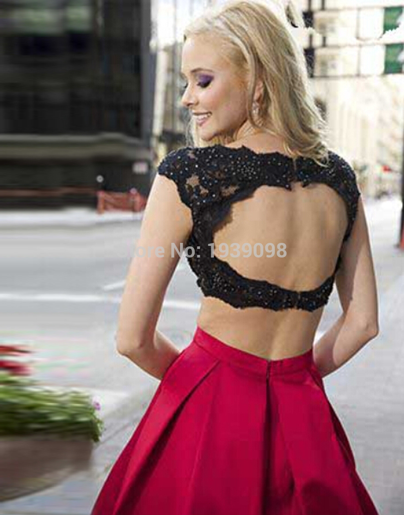 2015 Black Lace and Red Maxi Skirt 2 Piece Set Prom Gowns Cap Sleeve Crop  Top Women Party Prom Dress Sexy Abendkleider-in Evening Dresses from  Weddings ... 06ed14840c9a