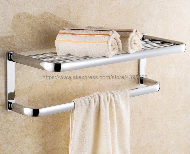 Chrome Wall Mounted Towel Rack Holder Hook Hanger Bar Shelf Rail ...