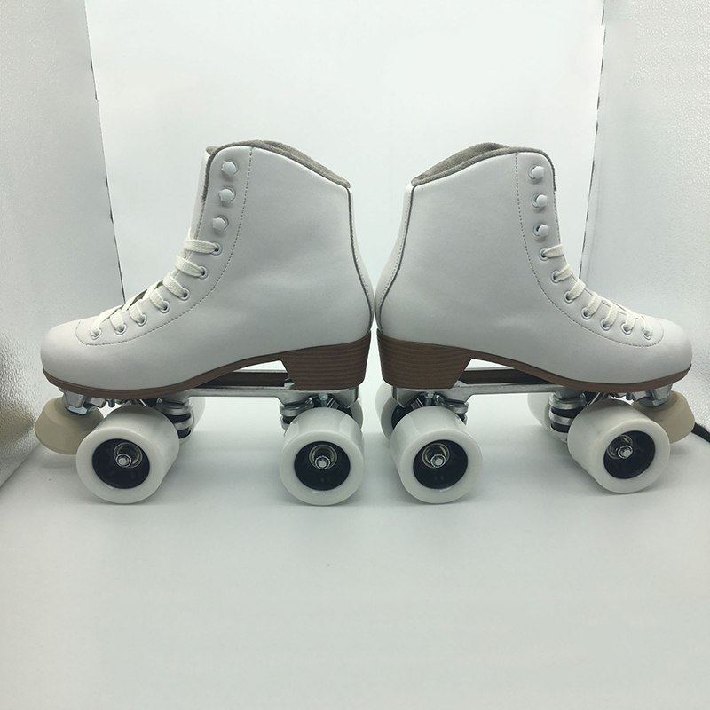 Adult Unisex Professional Two Line Roller Skating Shoes Double Row Skates Kids 4 PU Wheels High Grade Genuine Leather IB60 children adult parenting two line roller shoes skating 4 wheels double row skates patins kids pu wheels adjustable unisex ib42