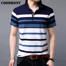 COODRONY Brand Soft Cotton T Shirt Men Striped Short Sleeve T-Shirt Summer Streetwear Casual Plus Size Mens T-Shirts S95058