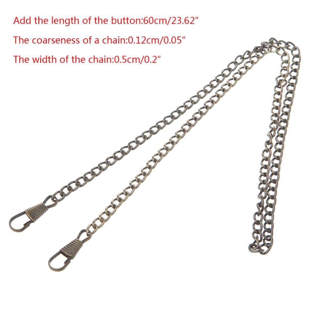 THINKTHENDO Long 120cm/60cm/40cm Metal Purse Chain Strap Handle  Handle Replacement For Handbag Shoulder Bag 4 Color
