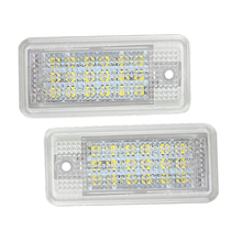 Mzorange 2pcs Car Led Number License Plate Light White 6000k 3W 18 SMD Bulb For Audi A4 A6 C6 A3 B6 B7 S6 A8 Q7