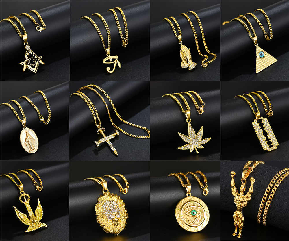 Hip Hop Jewelry Women Men Gold Long Chain Necklaces Unisex Hiphop Bling Nail Eye Lion Head Shaver Masonic Pendant Necklace Gifts