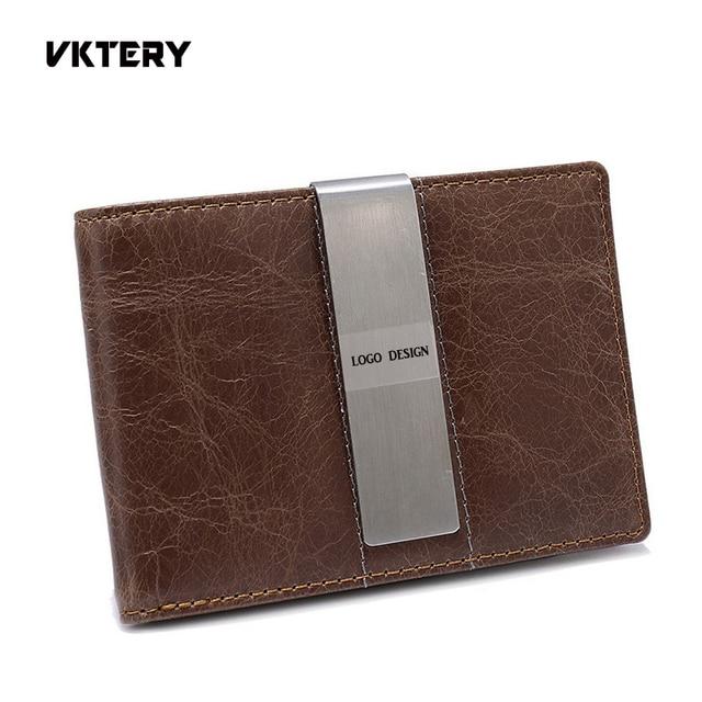 One piece logo design men money clip cow leather men wallets gift for father or boyfriend