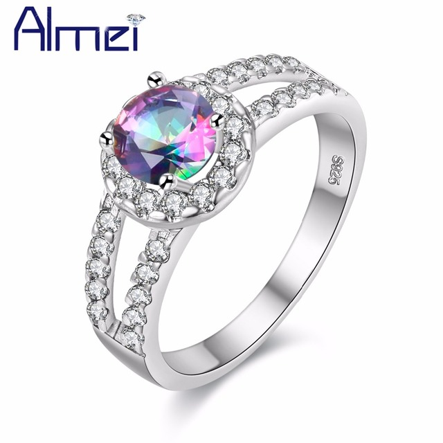 Almei Ring Silver Color Fashion Crystal With White Big Stone Rainbow Mystic Rings For Women Bridal Wedding Jewelry Anillos J510