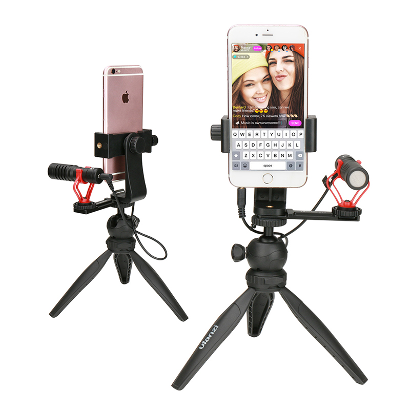 все цены на Ulanzi Phone Live Stream Tripod Kit Smartphone Tabletop Tripod Mount Stand w Microphone Cold Shoe for iPhone Youtube Facebook онлайн