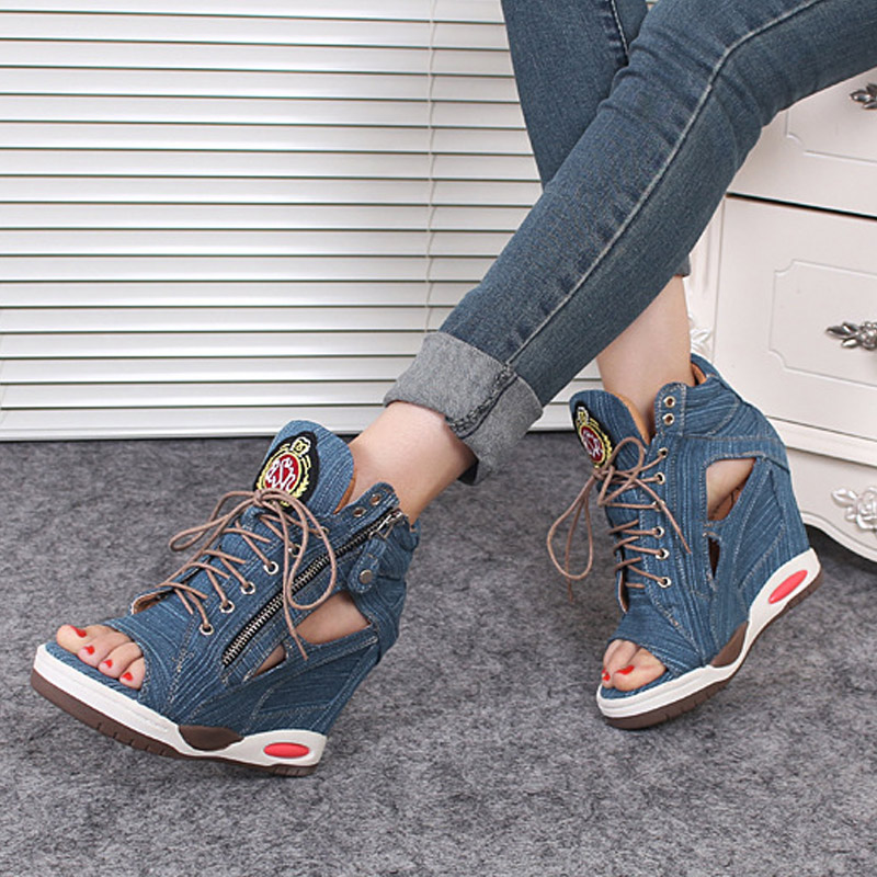 ФОТО Fashion Women Spring Summer Open Toe Shoes Pumps High Heel Wedge Sandals Platform Jeans Shoes LT88