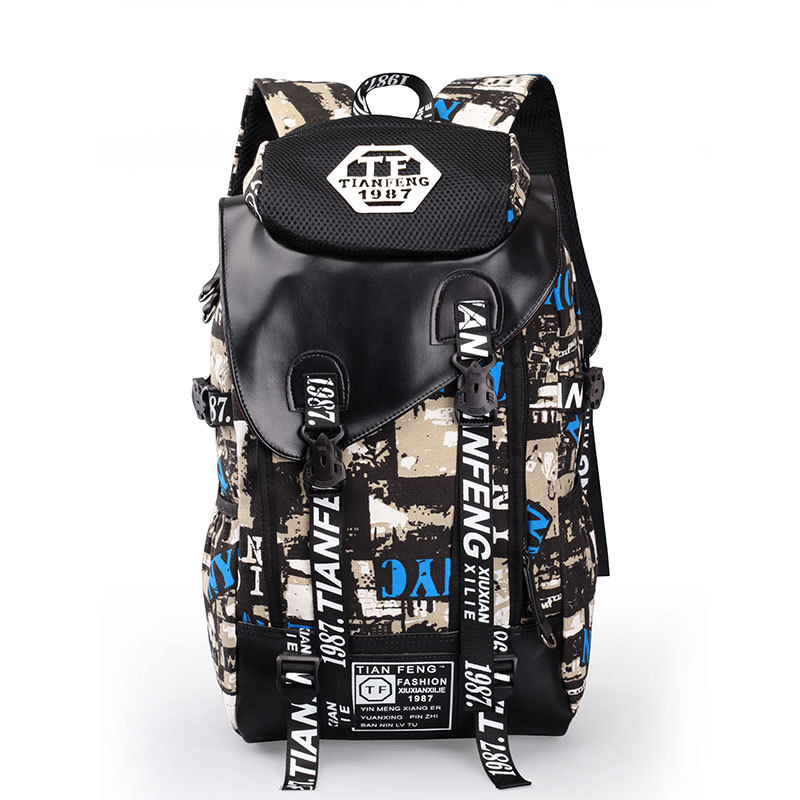 2016 Graffiti Backpack Male Canvas Fashion Men Printing Backpack Students School Bags For Teenagers Laptop Travel Bag Sac A Dos