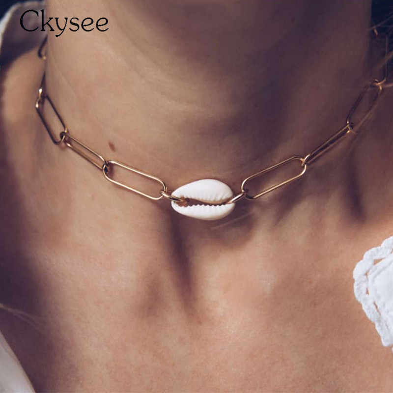 Fashion Jewelry Statement Necklace Sell Collier Femme Gold Seashell Pendant Necklace For Women Simple Punk Choker Girl Gift
