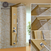 Gold Plate Stainless Steel Rainfall Shower Panel 2 Parts Massage Jets System Faucet With Hand Brass