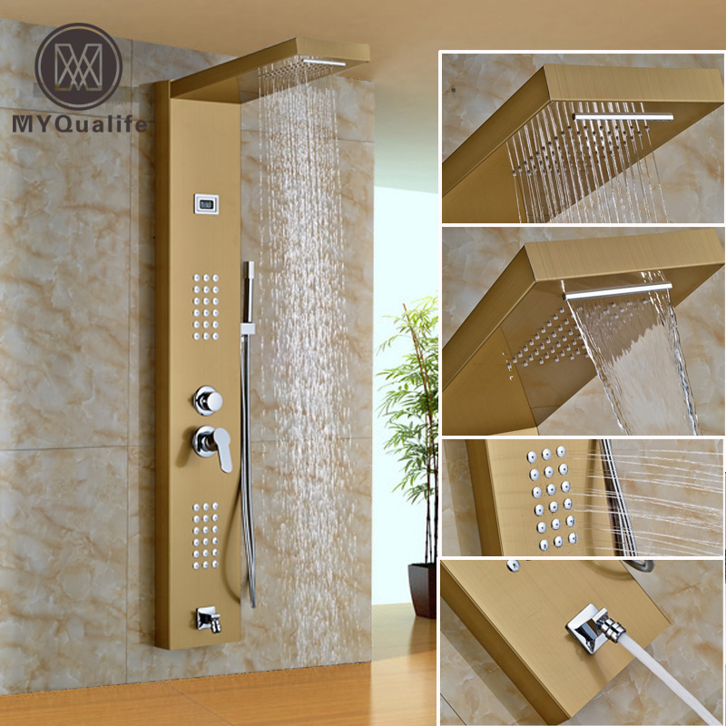 Gold-plate Stainless Steel Rainfall Shower Panel 2 parts Massage Jets System Faucet with Hand Brass Tub Spout Shower Column