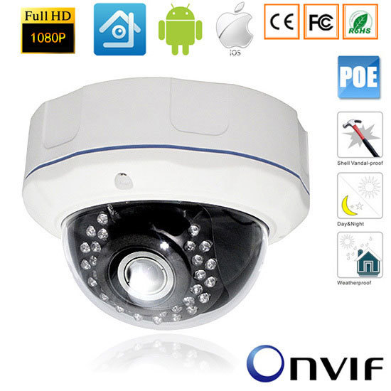 2.0MP 1080P Vandalproof Security CCTV 48V POE IP CCTV Onvif Camera Night Vision Outdoor 2.8MM Lens Wide View2.0MP 1080P Vandalproof Security CCTV 48V POE IP CCTV Onvif Camera Night Vision Outdoor 2.8MM Lens Wide View
