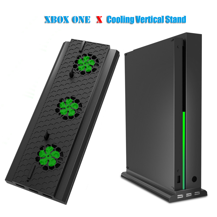 Vertical Stand with Cooling Fan for Xbox one X Console Holder Cooler with 3 USB Ports