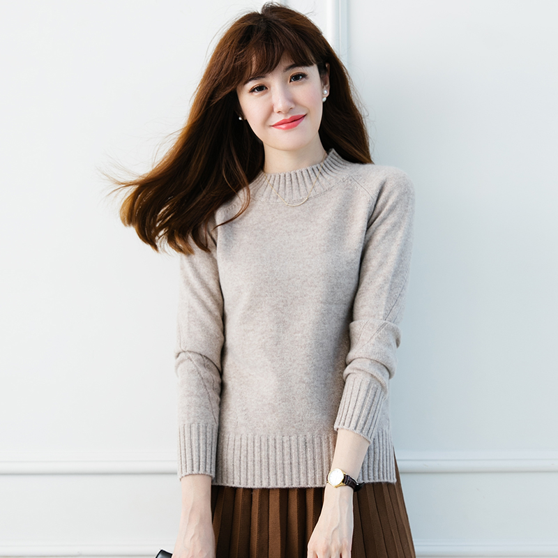 JECH new autumn and winter soft fashion cashmere ladies open pure sweater O-neck pullover warm