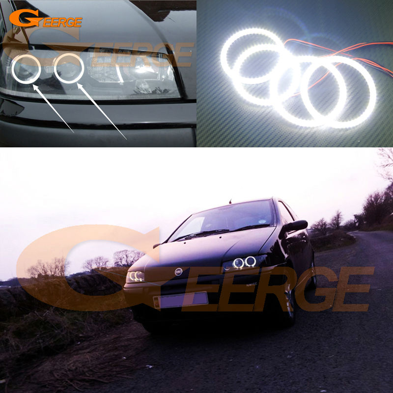 For FIAT PUNTO Mk2 1999 2000 2001 2002 2003 Headlight Excellent Ultra bright illumination smd led Angel Eyes Halo Ring kit for alfa romeo 147 2000 2001 2002 2003 2004 halogen headlight excellent ultra bright illumination ccfl angel eyes kit halo ring