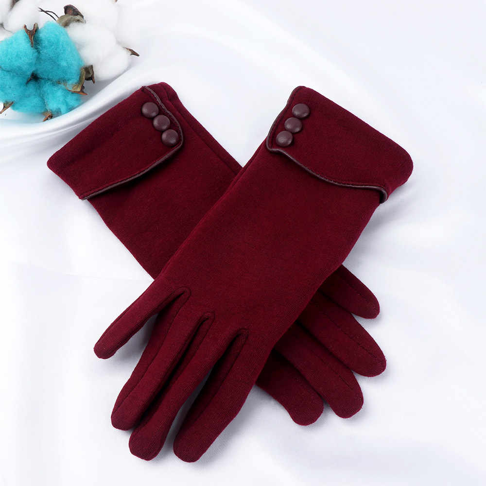 Ladies Touch Screen Wrist Gloves Thickening Warm Autumn Winter Gloves Female Ball Touch Screen Mittens Gift