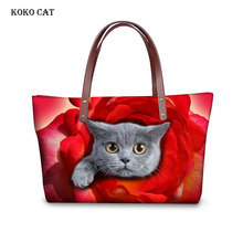 Women Handbags Top-handle Bag 3D Colour Cute Catoon Cat Dog Printing Messenger Bags for Girls Shoulder Packs Bolsa Feminina