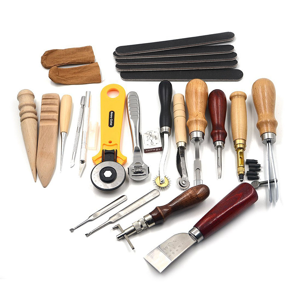 20 шт./с кожа ручные инструменты для Leathercraft Набор Costura комплект удар шить Вышивание DIY штамп подарок TB распродажа