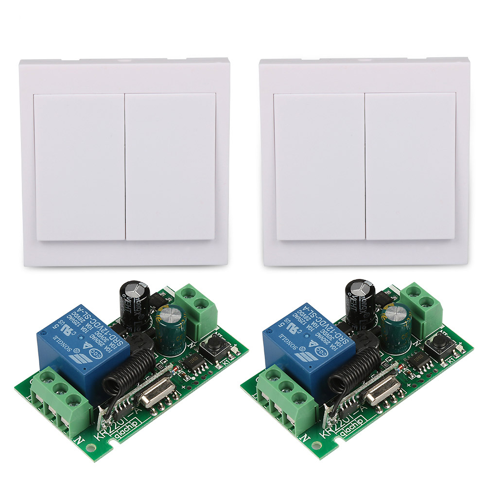 AC 220V 2CH RF Wireless Remote Control Switch System Receiver +2 X 2CH 86 Wall Panel Transmitter 433.92 MHZ