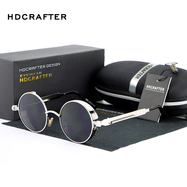 359470e197b HDCRAFTER Vintage Round Metal Steampunk Sunglasses Polarized Brand Designer Retro  Steam Punk Sun Glasses for Men
