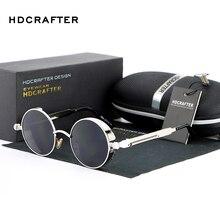 HDCRAFTER Vintage Round Metal Steampunk Sunglasses Polarized Brand Designer Retro Steam Punk Sun Glasses for Men oculos de sol