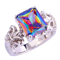 lingmei Handsome Mysterious Rainbow CZ  Silver Color Ring Size 7 8 9 10 New Fashion Jewelry  Gift  For Women Wholesale