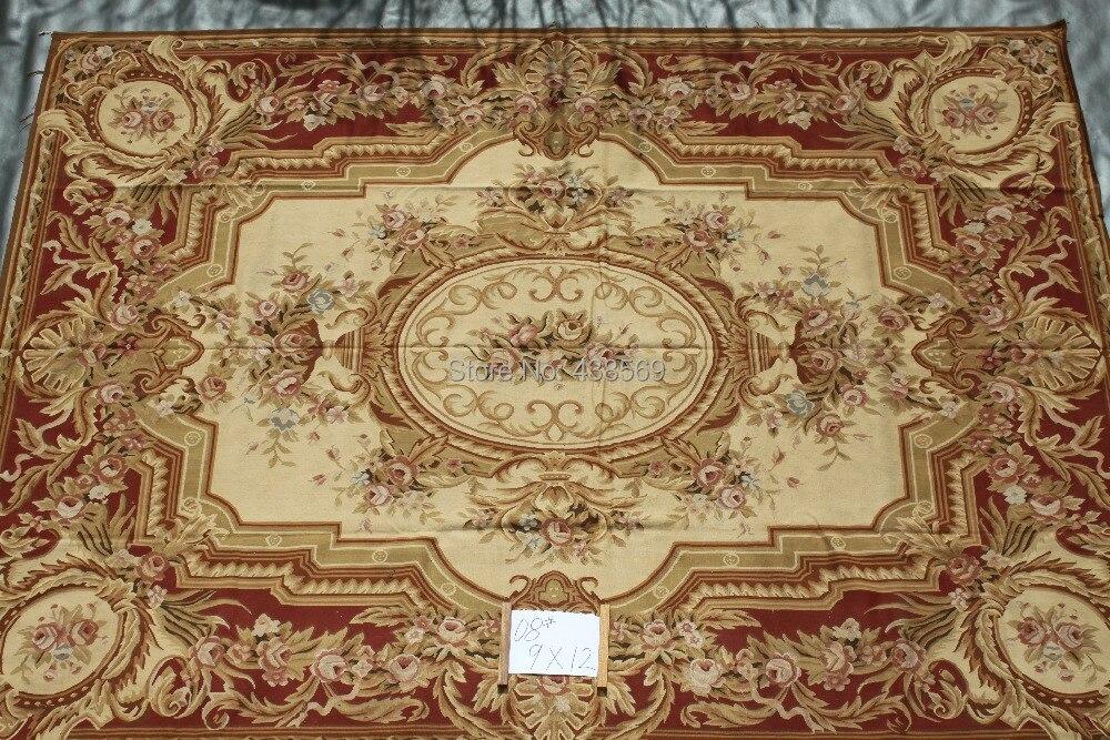 Livraison gratuite 9'x12' superbe tapis d'aubusson style français tapis faits à la main