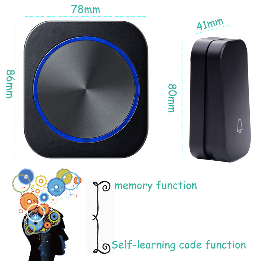 SMATRUL self powered New Waterproof Wireless Doorbell EU Plug 150M Remote smart Door Bell Chime ring  1 2 button 1 2 3 receiver no battery Deaf Gorgeous lighting black 6