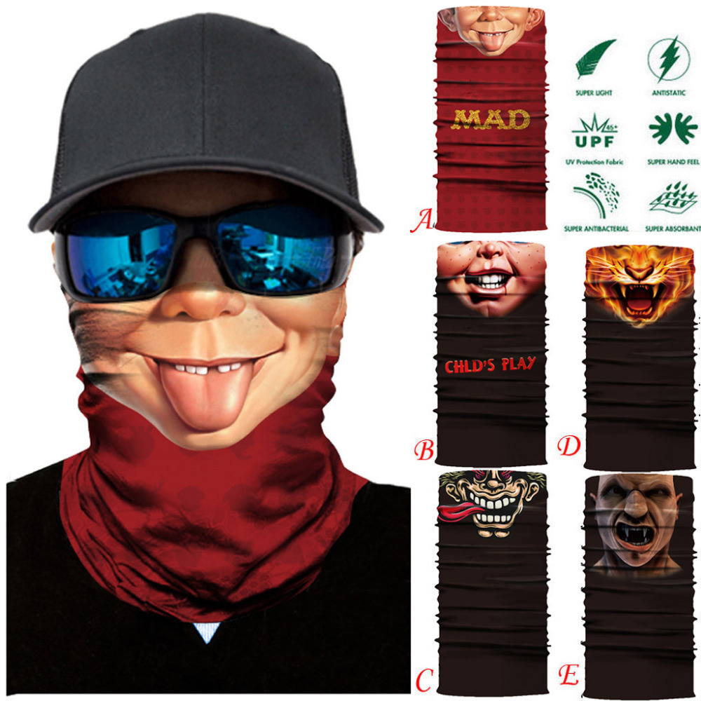 Sikye Unisex Motocycle Cycling Ski Windproof Full Face Mask Hat Outdoor Sports Seamless Animal 3D Print Quick-Drying Mask